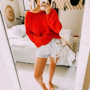 NWT vibrant red chenille cozy oversized sweater
